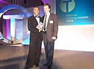 Andrew Bendefy with Colin Jackson at the National Training Awards